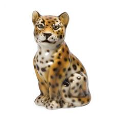 Sitting Leopard Ceramic Sculpture | Intrada Italy | ANI2328