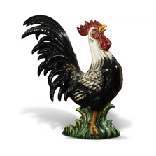 Black & White Rooster Ceramic Sculpture | Intrada Italy | CAM9220