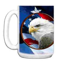Eagle with Flag 15oz Ceramic Mug | Bald Eagle Mug | CMGWHB3132
