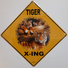 Tiger Family Metal Crossing Sign | Tiger Family Xing Sign | MXSHB30182