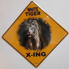 White Tiger Metal Crossing Sign | MXSHB1093