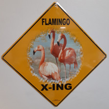 Flamingo Metal Crossing Sign | Flamingo X-ing Sign