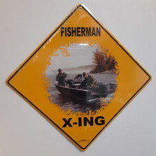 Fisherman Metal Crossing Sign | Fisherman X-ing Sign