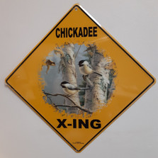 Chickadee Metal Crossing Sign | Chickadee X-ing