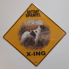 Brittany Spaniel Metal Crossing Sign | Brittany Spaniel X-ing Sign