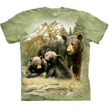 Black Bear Family Unisex Cotton T-Shirt | The Mountain | 105980 | Black Bear T-Shirt