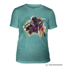 Painted Lion Teal Unisex Tri-Blend T-Shirt | The Mountain | 5463230744 | Lion T-Shirt