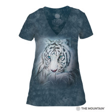 Thoughtful White Tiger Women's Tri-Blend V-neck T-Shirt | The Mountain | 415964 | White Tiger T-Shirt