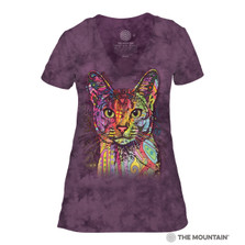 Abyssinian Cat Women's Tri-Blend V-Neck T-Shirt | The Mountain | 413851 | Cat T-Shirt