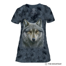 Warrior Wolf Women's Tri-Blend V-Neck T-Shirt | The Mountain | 414979 | Wolf T-Shirt