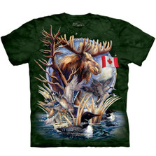 Canada Wildlife Loon & Moose Unisex Cotton T-Shirt | The Mountain | 106121 | Moose T-Shirt | Canada Loon T-Shirt