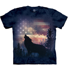 Patriotic Howl Wolf Unisex Cotton T-Shirt | The Mountain | 105971 | Wolf T-Shirt