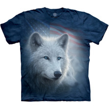 Patriotic White Wolf Unisex Cotton T-Shirt | The Mountain | 105967 | Wolf T-Shirt
