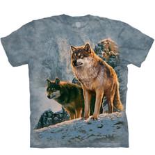 Wolf Couple Sunset Unisex Cotton T-Shirt   The Mountain   105938   Wolf T-Shirt