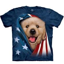 Patriotic Golden Pup Unisex Cotton T-Shirt | The Mountain | 105905 | Golden Retriever T-Shirt