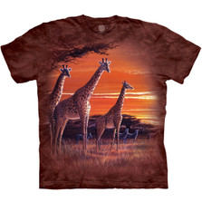 Sundown Giraffes Unisex Cotton T-Shirt | The Mountain | 105906 | Giraffe T-Shirt