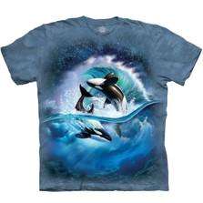 Orca Wave Unisex Cotton T-Shirt | The Mountain | 105909 | Orca Whale T-Shirt