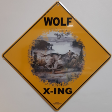 Wolf Running Metal Crossing Sign | Wolf Running Xing Sign | MXSHB31372