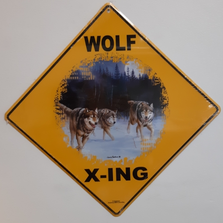 Running Wolves Metal Crossing Sign | Running Wolves Xing Sign | MXS1006