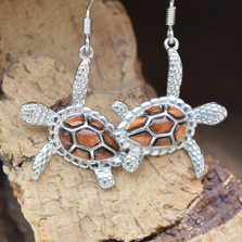 Sea Turtle Sterling Silver and Cork Tree Wire Earrings | Nature Jewelry | CTD-E31