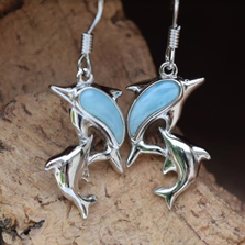 Dolphin Sterling Silver and Larimar Wire Earrings   Nature Jewelry   CTD-E34