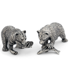 Fishing Bear Pewter Salt Pepper Shakers | Vagabond House | V972
