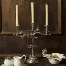 Oak Leaf 3-Taper Pewter Candelabrum Candle Holder | Vagabond House | L101M