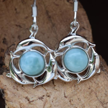 Dolphin Circle Sterling Silver and Larimar Wire Earrings | Nature Jewelry | CTD-E33