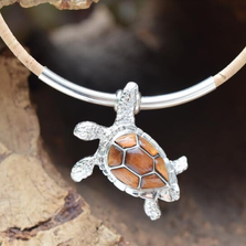 Sea Turtle Sterling Silver and Cork Tree Necklace | Nature Jewelry | CTD-N91