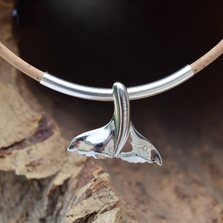 Whale Tail Sterling Silver Cork Tree Necklace | Nature Jewelry | CTD-N92