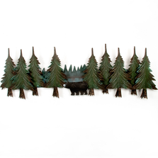 Bear and Pine Tree Swag Metal Wall Sculpture | TI Design | CA613