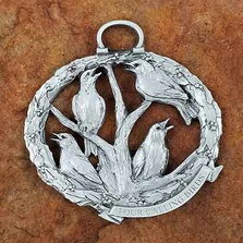 4 Calling Birds Pewter Christmas Ornament | Andy Schumann | SCH4CALLBIRDS