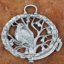 Partridge in a Pear Tree Pewter Christmas Ornament | Andy Schumann | SCHPARTRIDGEORN