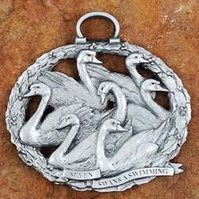 7 Swans a Swimming Pewter Christmas Ornament | Andy Schumann | SCH7SWANSORN