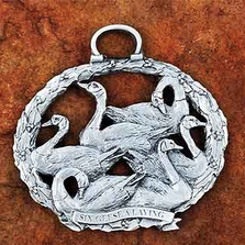 6 Geese a Laying Pewter Christmas Ornament | Andy Schumann | SCH6GEESELAY