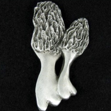 Morel Mushroom Pewter Pin   Andy Schumann   SCHMORELPIN