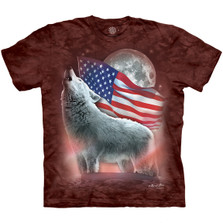 White Wolf Patriotic Lights Unisex Cotton T-Shirt | The Mountain | 106440 | Wolf T-Shirt