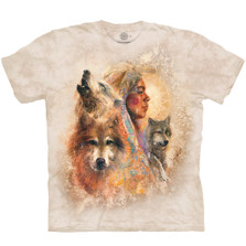 Unity Native American Wolf Unisex Cotton T-Shirt | The Mountain | 106409 | Wolf T-Shirt