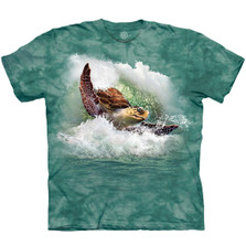 Surfin Sea Turtle Unisex Cotton T-Shirt | The Mountain | 106453 | Turtle T-Shirt