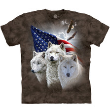 Patriotic Wolves Unisex Cotton T-Shirt   The Mountain   106418   Wolf T-Shirt