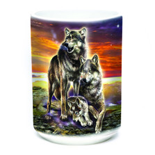 Wolf Family Sunrise 15oz Ceramic Mug | The Mountain | 576282 | Wolf Mug