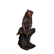 Bear Sitting on Rock Bronze Statue | Metropolitan Galleries | SRB706427