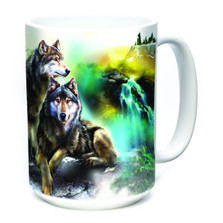 Wolf Lookout 15oz Ceramic Mug | The Mountain | 574978 | Wolf Mug
