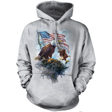 American Flag Eagle Adult Unisex Hoodie | The Mountain | 726197 | Bald Eagle Sweatshirt