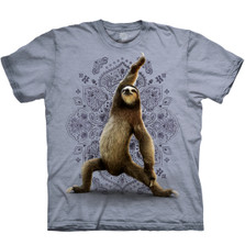 Sloth Yoga Warrior Blue Unisex Cotton T-Shirt | The Mountain | 1062880740 | Sloth T-Shirt