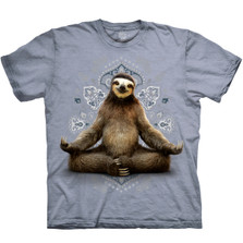 Peaceful Yoga Sloth Blue Unisex Cotton T-Shirt | The Mountain | 1062860740 | Sloth T-Shirt