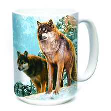 Wolf Couple Sunset 15oz Ceramic Mug | The Mountain | 575938 | Wolf Mug