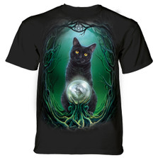Black Cat Crystal Ball Unisex Cotton T-Shirt | The Mountain | 106186 | Cat T-Shirt