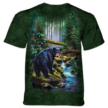 Black Bear Forest Unisex Cotton T-Shirt | The Mountain | 106164 | Black Bear T-Shirt
