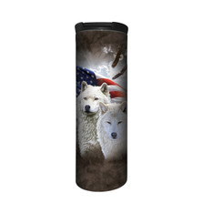 Patriotic Wolves Stainless Steel 17oz Travel Mug | The Mountain | 5964181 | Wolf Travel Mug